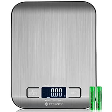 Etekcity Kitchen Food Scale Small Digital Multifunction Scale, Back-lit LCD Display, 0.04oz/1g Increment, 11 lb 5 kg, Food Grade 304 Stainless Steel (Batteries Included)
