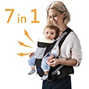Windsleeping Ergonomic Baby Carrier with Hip Seat 7 Positions to Carry Your Newborns,Infant or Toddler,Pure Cotton Fabric Safety and Comfort for Child & Moms,Dad -Best Gift Choice for Baby,Black