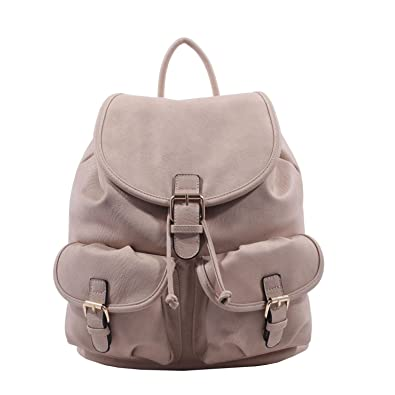 MKF Collection Mikayla Trendy Backpack by Mia K. Farrow Beige 5c34615a8f2a8