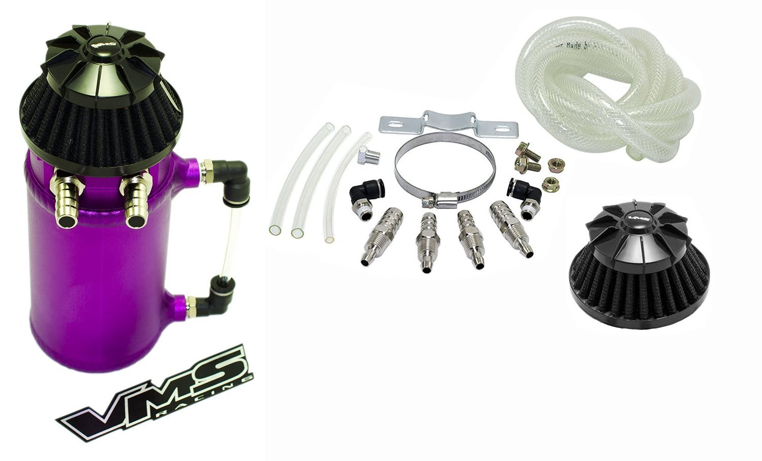 VMS Racing Universal Matte PURPLE Aluminum OIL Reservoir CATCH CAN Canister Tank with Breather (Complete Kit) 100-VMSCOCCTPR2