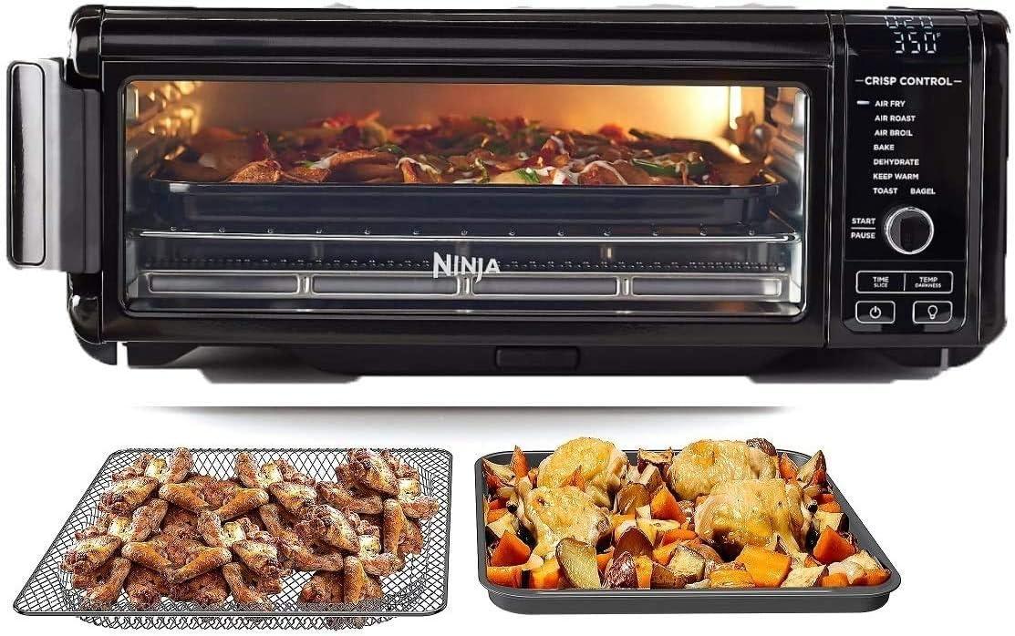 Ninja SP101 Foodi 8-in-1 Air Fry Large Toaster Oven Flip-Away for Storage Dehydrate Keep Warm 1800w XL Capacity (Renewed) BLACK
