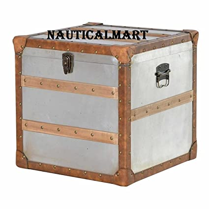 Merveilleux NAUTICALMART Modern Medium Square Metal Lockable Storage Trunk Chest Wooden  Lats