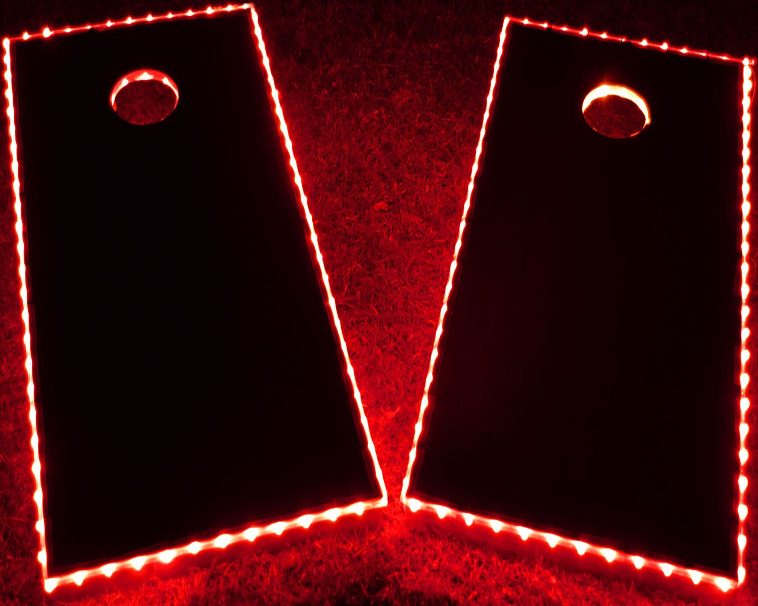 GlowCity LED Cornhole Board Lights - Ultra Bright Lights for Corn Hole and Board, Fits 2 x Boards - Waterproof and Durable Cable Ideal for Family Outdoor Games or Backyard Glow in The Dark Fun (Red) by GlowCity
