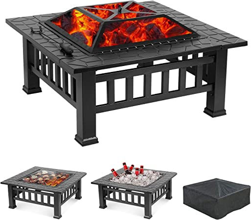 """32/"""" Metal Firepit Patio Backyard Garden Square Stove W//Cover Fire Pit Outdoor"""