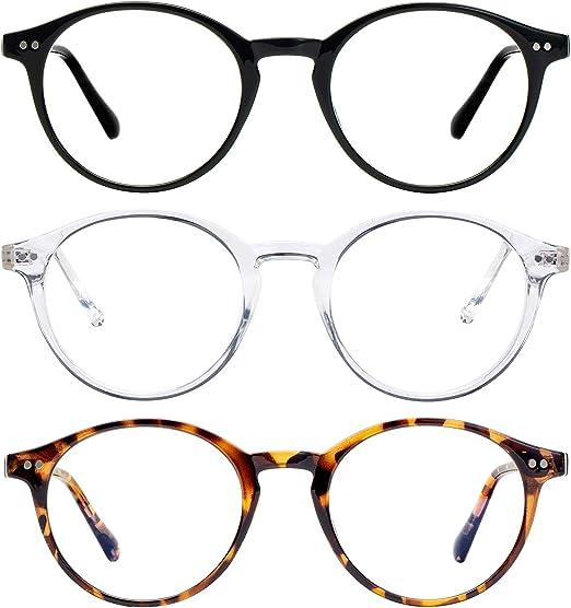 Amazon.com: Blue Light Blocking Glasses for Women or Men Computer Gaming Glasses Anti Eye Eyestrain Nerd Reading Glasses Non Prescription (Transparent+Leopard+Black): Computers & Accessories