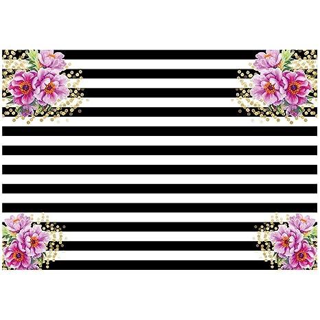 TOOGOO (R) 7 x 5ft fotografía fondos negro y blanco rayas ...