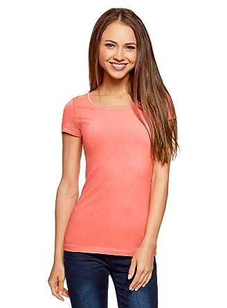 oodji Ultra Donna T Shirt Basic in Cotone: Abbigliamento