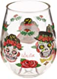 """C.R. Gibson 16-Ounce Stemless Acrylic Wine Glasses, By Lolita, Set of 2, BPA Free, Measures 3.5"""" x 4.5"""" - Sugar Skull"""
