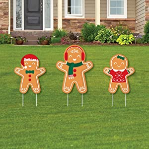 Big Dot of Happiness Gingerbread Christmas - Outdoor Lawn Sign Decorations with Stakes - Gingerbread Man Holiday Party Yard Display - 3 Pieces