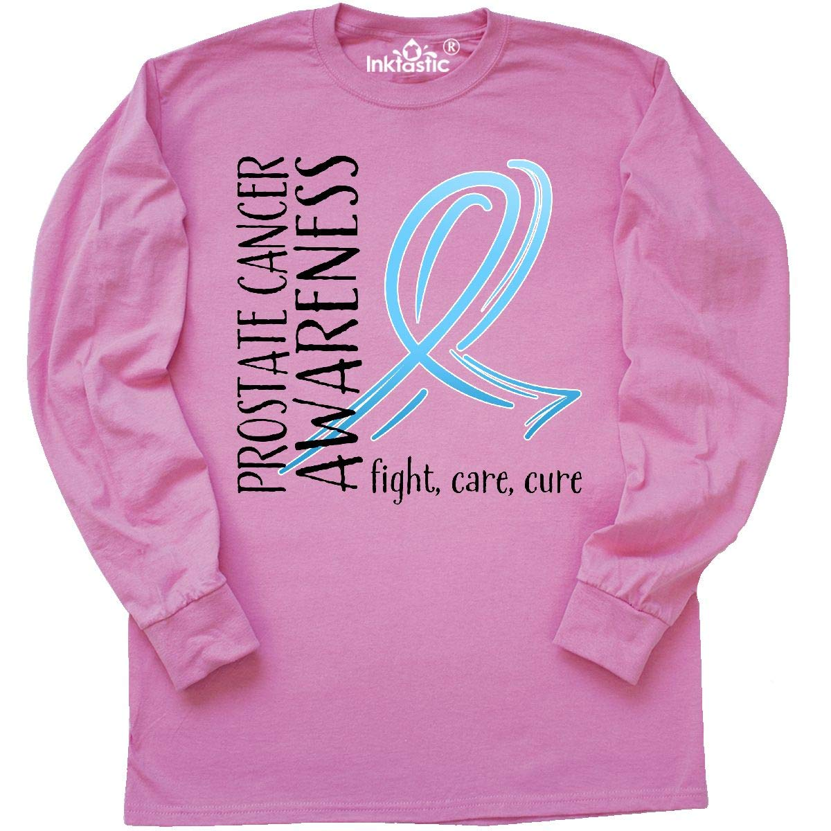 19959a60 Amazon.com: inktastic - Prostate Cancer Awareness- Fight, Care, Cure Long  Sleeve T-Shirt: Clothing