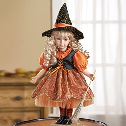 winston inc orange black porcelain doll collectible wendy witch halloween