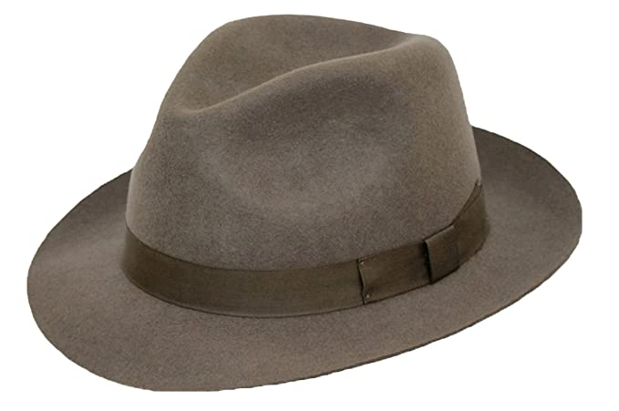 f312697abbec DH GENTS 100% WOOL FELT FEDORA TRILBY HAT WITH MATCHING BAND  Amazon.co.uk   Clothing
