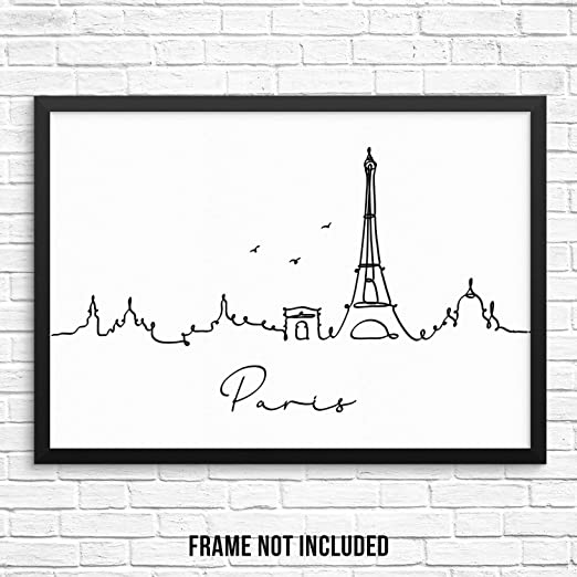 Eiffel Tower Black White Illustration Drawing Paris Art Print Poster Picture Kunstdrucke