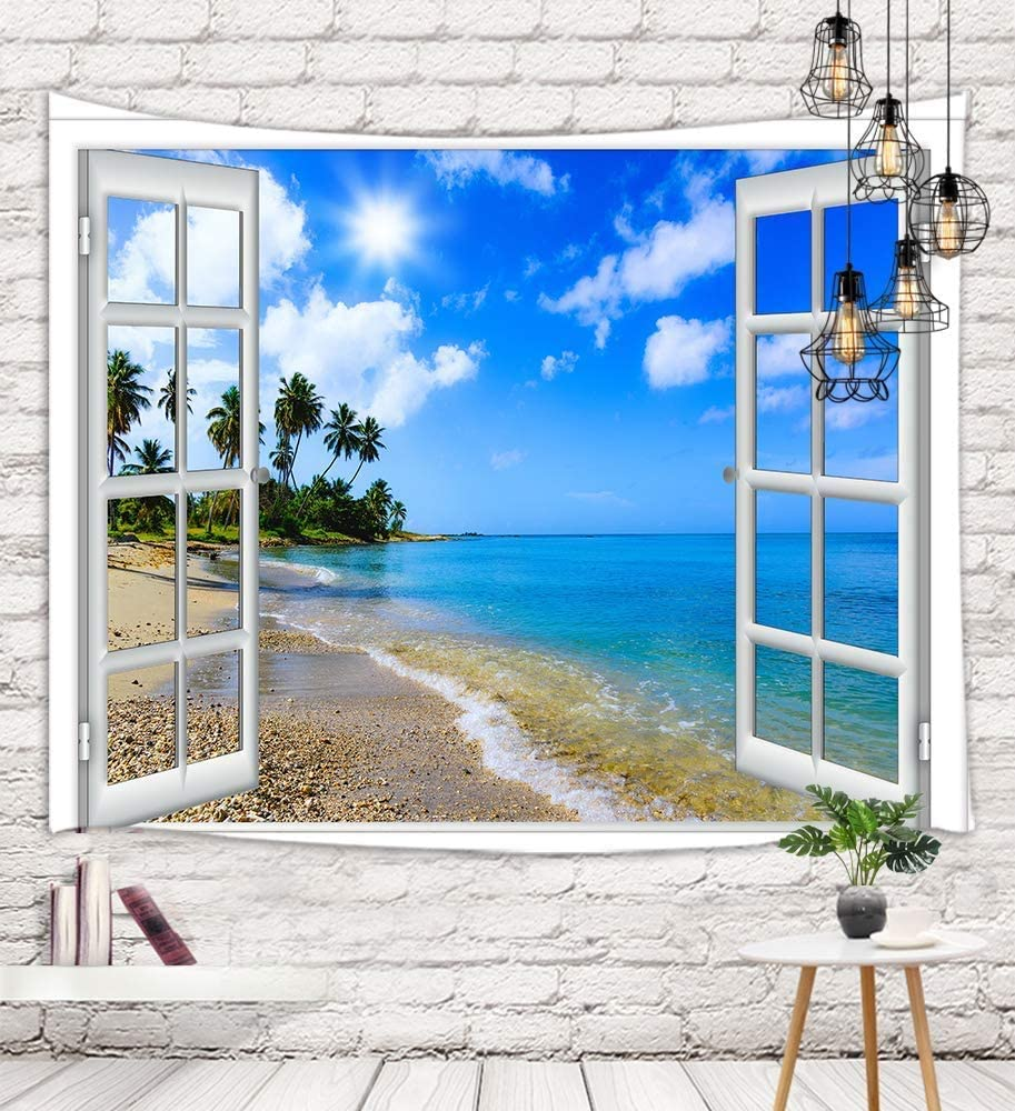 Seaside Window Tapestry Wall Hanging, Ocean Scenery Sand Beach with Palm Tree Wall Tapestry Art, Tapestries for Home Decorations TV Backdrop Dorm Decor Living Room Bedroom, Beach Towel, (71