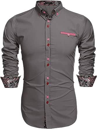 Coofandy Camisa Casual Manga Larga para Hombre de Moda: Amazon.es: Ropa y accesorios
