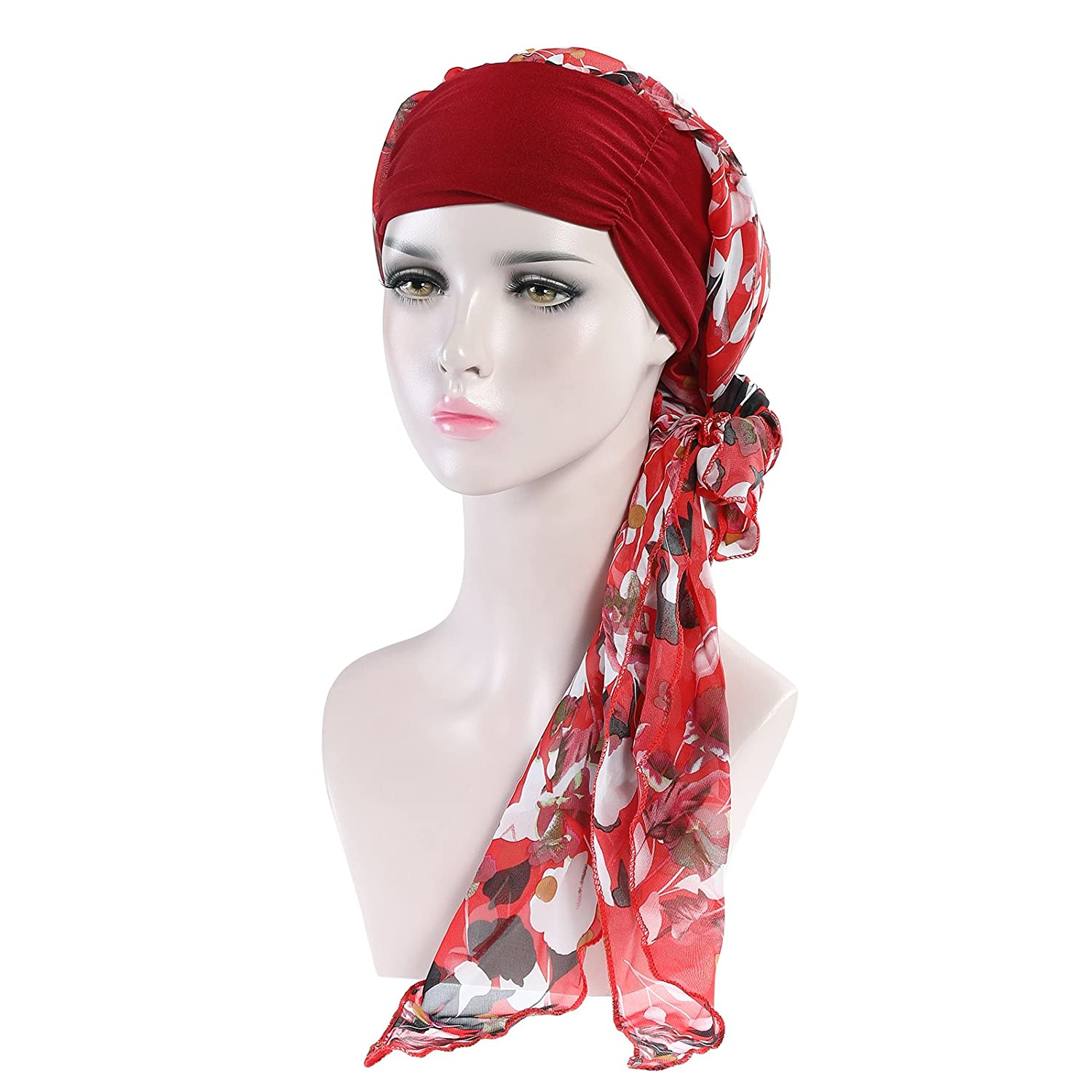 AWAYTR Women Head Wrap Chemo Hat Turban Long Head Scarf Pre-Tied Bandana