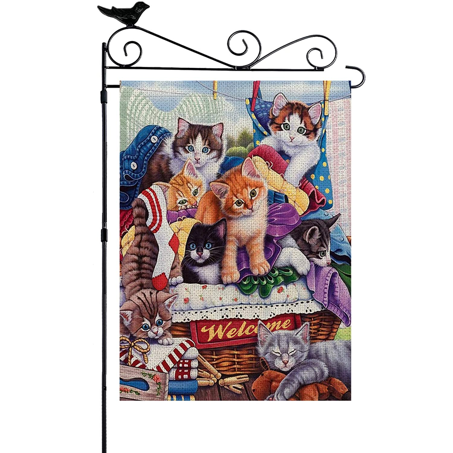 YISHOW Welcome Cute Cat Garden Flag Double Sided Vertical House Banner Home Burlap Flags Welcome Yard Signs Outdoor Decor 12.5