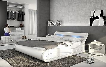 Designer Leder Bett Bellini Bellugia 140x200 Oder 180x200 Cm Polsterbett  Mit LED Beleuchtung Lederbett Weiss Oder