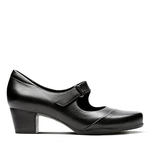 53b9c17e875a Clarks Women s Mary Janes Block Heel Shoes Rosalyn Wren Black Leather   Amazon.co.uk  Shoes   Bags