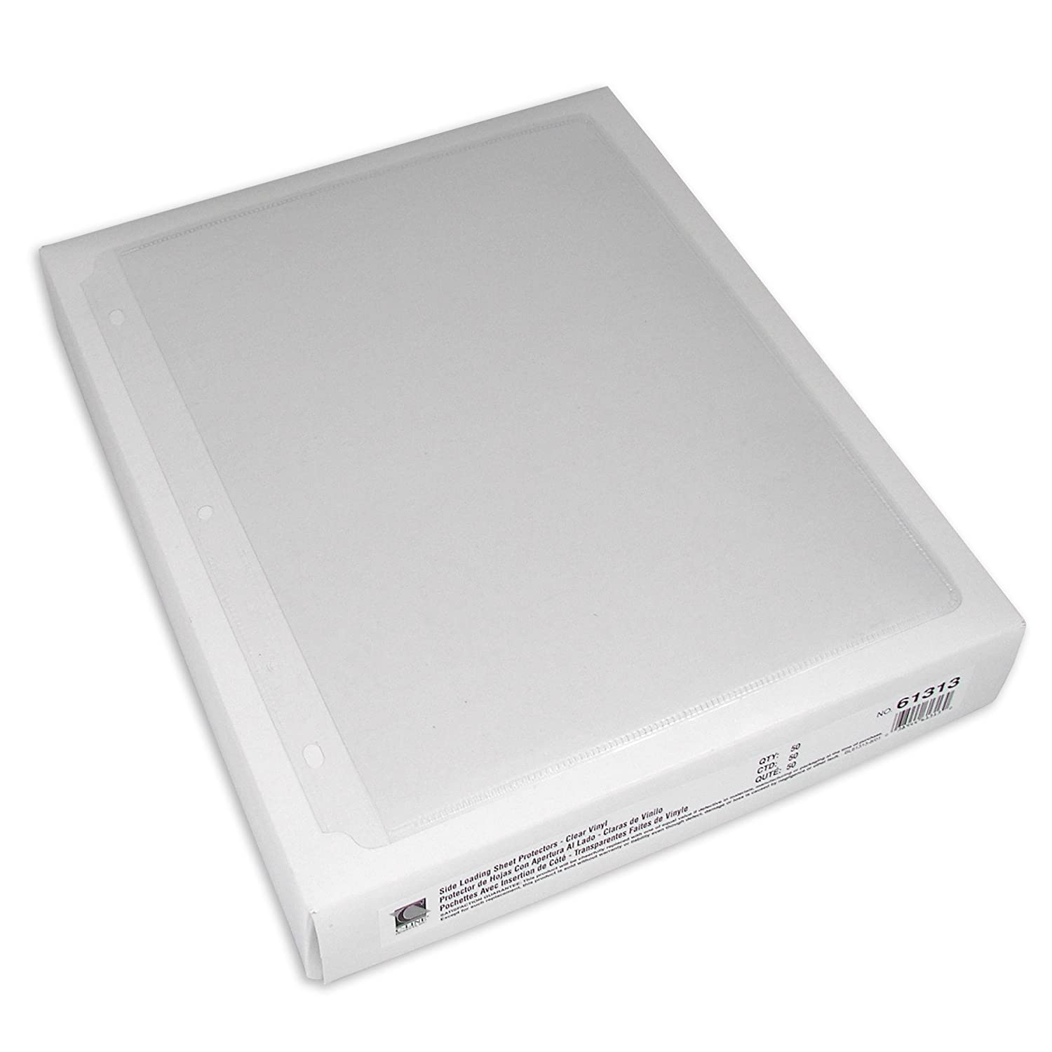 50//Box Sealed on 3 Sides C-Line 62313 Side-Loading Clear Heavy-Gauge Poly Sheet Protectors