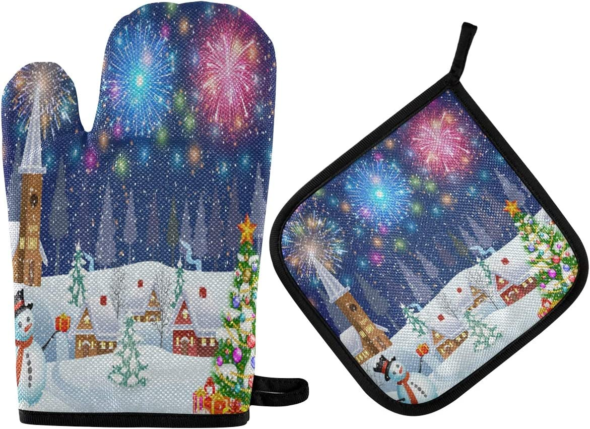 ALAZA Christmas Tree and Snowman Oven Mitts and Pot Holders Sets Heat Resistant Kitchen Oven Gloves Potholder Hot Pad for Cooking Baking Grill