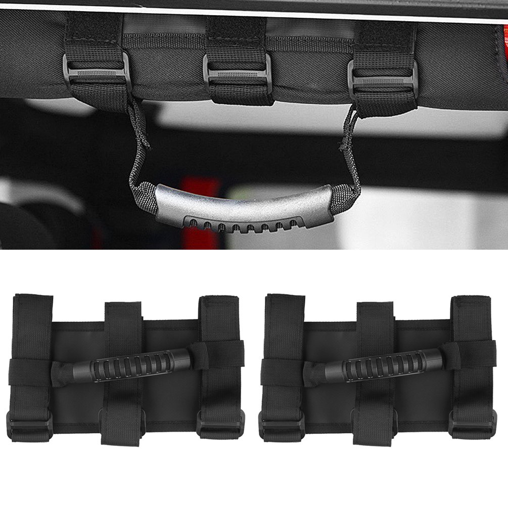 Roll Bar Wide Grab Handle Fits 1 1/2 to 3 Inch Roll Bars for SUV UTV ATV Jeep Wrangler JK JKU CJ YJ TJ Sport X Sahara Unlimited Rubicon SUNPIE