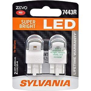 SYLVANIA - 7443 T20 ZEVO LED Red Bulb - Bright LED Bulb, Ideal for Stop