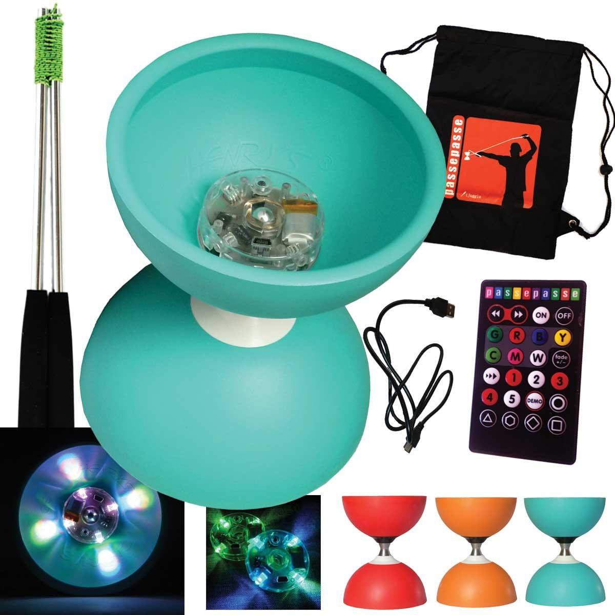 Henrys Turqouise Diabolo Circus FREE Lagerachse mit USB-Fernbedienung LED-Leuchten + Aluminium Steuerknüppel und Tasche