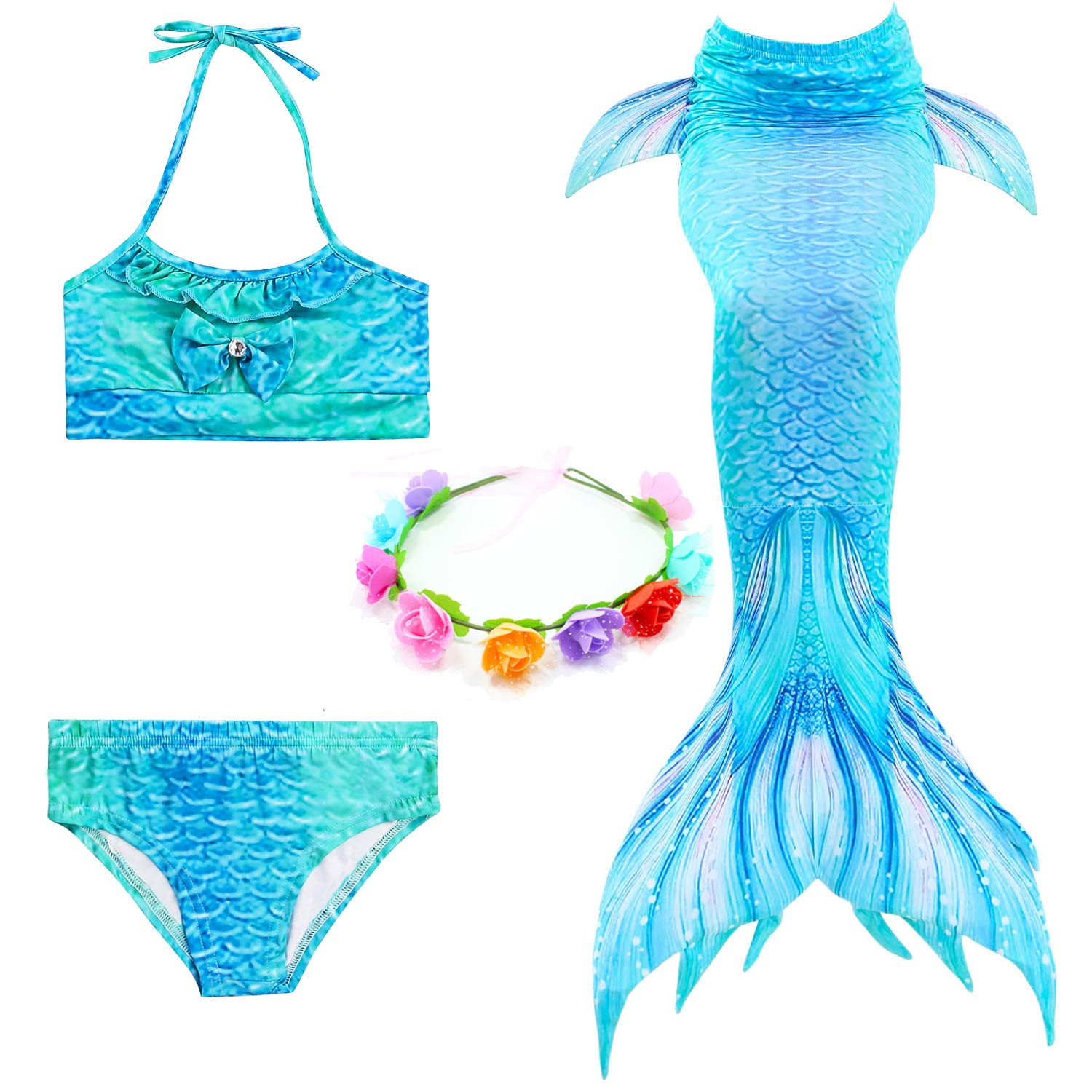 Bechampion Kids Girls Swimsuits Bikini Swimmable Mermaid Tails Swimwear for Swimming for Summer Pool Costumes