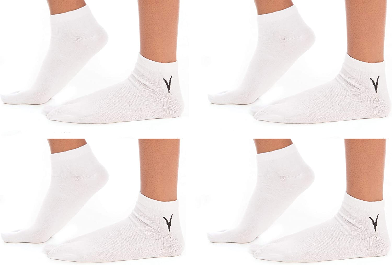 4 Pairs Ankle V-Toe Flip-Flop Cotton Blend Big Toe Style Tabi Socks Fun Casual