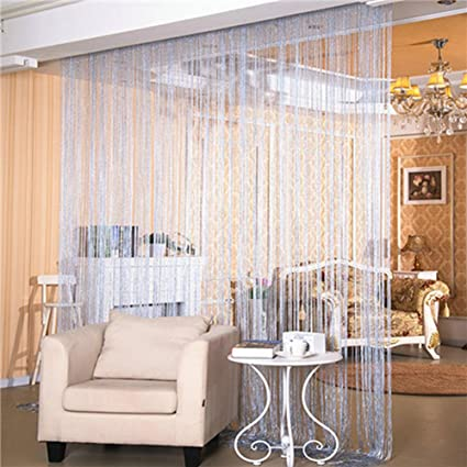 living room partition curtains glass crystal glittering curtains bamona door porch living room bedroom partition curtain silver thread for wedding amazoncom