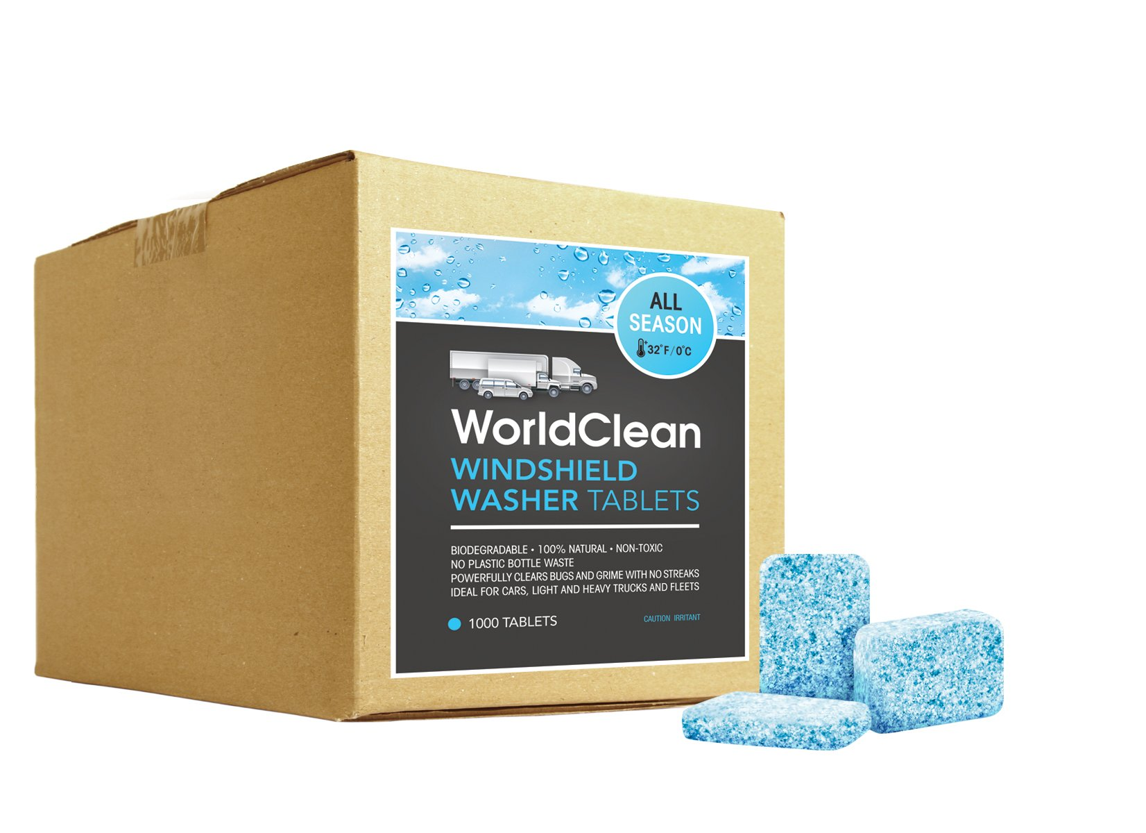 WorldClean biodegradable windshield washer 1000x tablets (yields 1000gal)