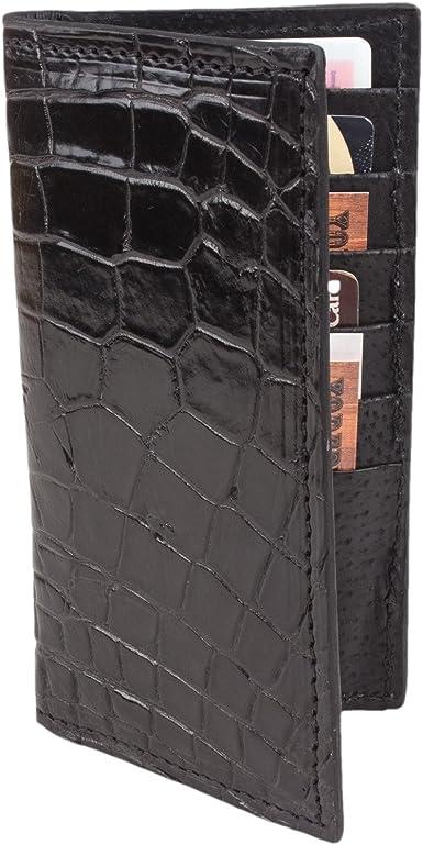 Genuine Leather Slim Crocodile Checkbook Cover