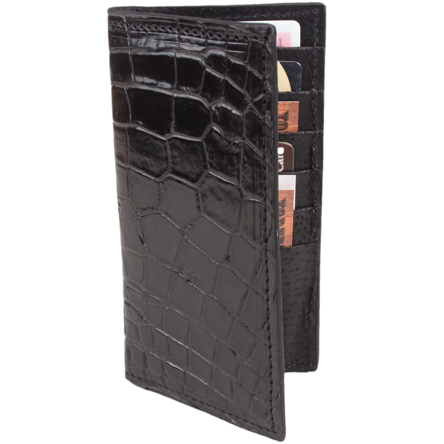 Genuine Alligator Rodeo Checkbook Leather Wallet (Black) by Yoder Leather Company