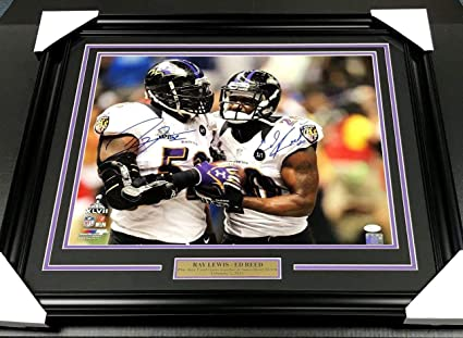 95ee363d0 Ray Lewis Ed Reed Dual Signed Autographed Framed 16x20 Photo Coa Sb Xlvii -  JSA Certified