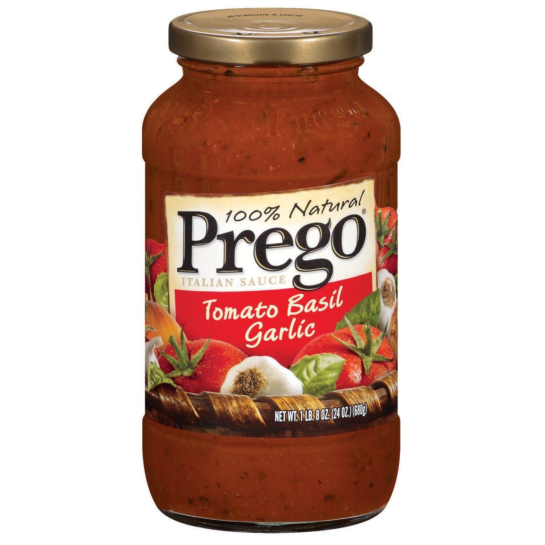 Prego 100% Natural Tomato Basil Garlic Pasta Sauce 24 oz (Pack of 12)