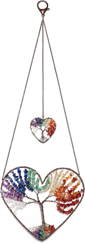 MANIFO Heart 7 Chakra Healing Crystal Tree of Life Hanging Ornament Wire Quartz Gemstone Wall Hanger Home Office Windows Decoration Meditation Balancing