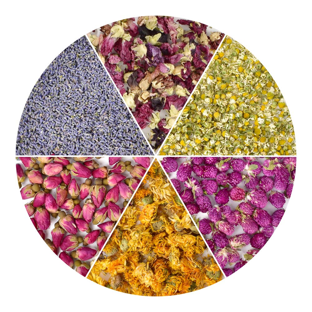 HAIOPS Dried Flowers Soap Making Scents Kits Rosebuds, Lavender, Gomphrena Globosa L, Violet Flower, Marigold and Chamomile, 6 Bags by HAIOPS