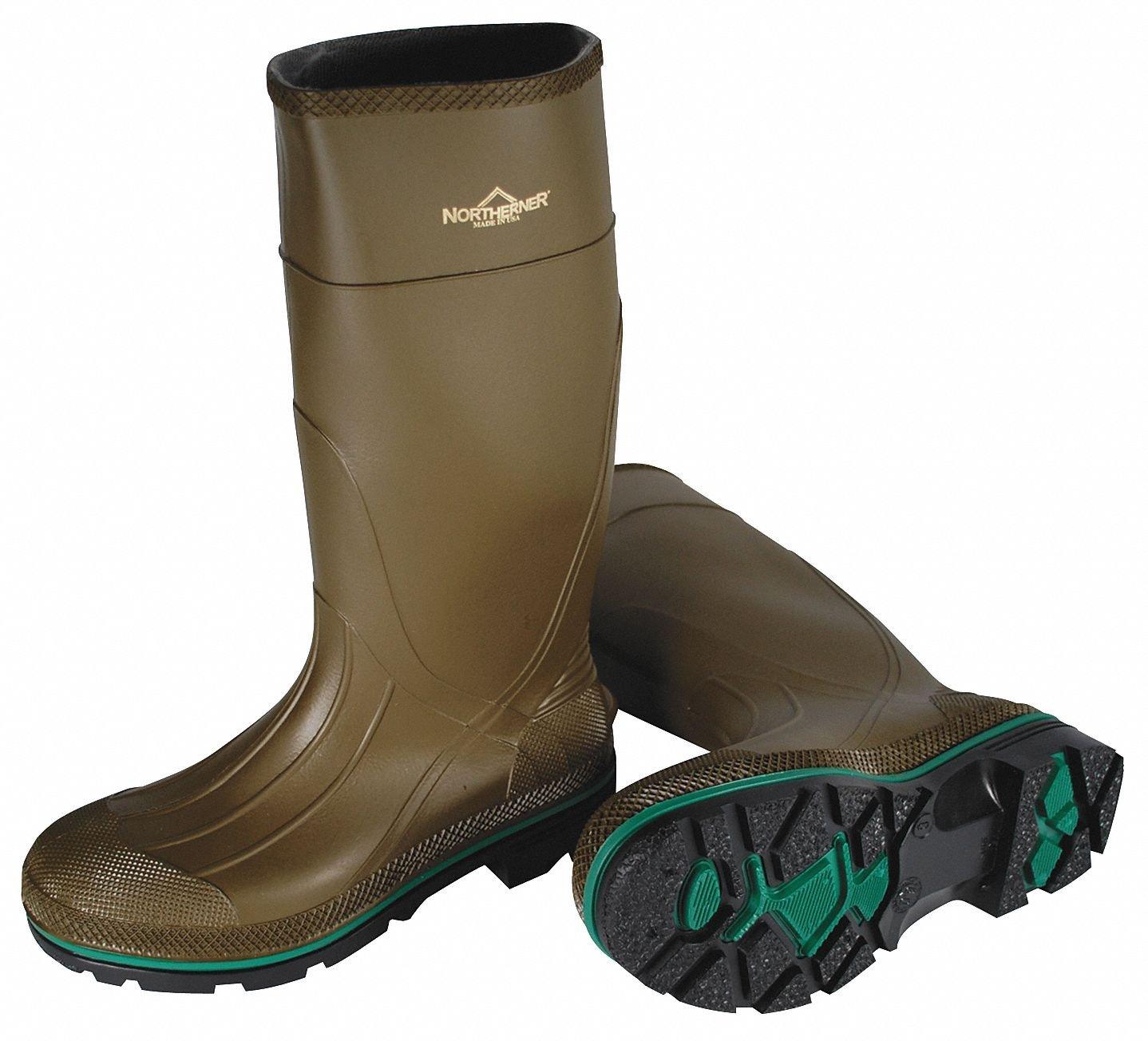 Knee Boots, Size 14, 15'' H, Olive, Plain, PR
