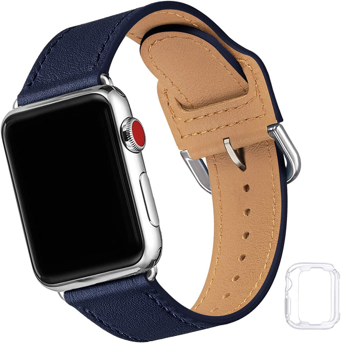 Compatible with Apple Watch Band 38mm 40mm 42mm 44mm, Soft Leather Watch Band Replacement Strap for iWatch Series 5 4 3 2 1 (Dark Blue with Silver, 38MM/40MM)