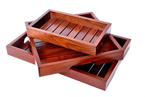 Hashcart Indian Rosewood Handmade U0026 Handcrafted Set Of 3 Wooden Serving Tray  For Dining Tableware,