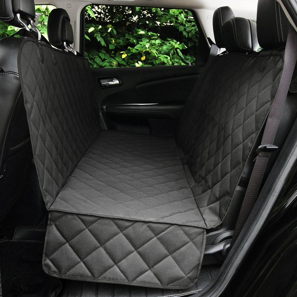 Honest Luxury Quilted Dog Car Seat Cover with Side Flap Pet Backseat Cover for Cars, Trucks, and Suv's - Waterproof & Nonslip Diamond Pattern Dog Seat Cover