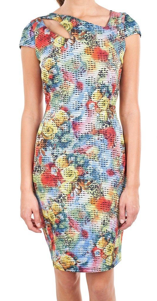 Joseph Ribkoff Multicoloured Fitted Cap Sleeve Dress Style 162644 - Size 12