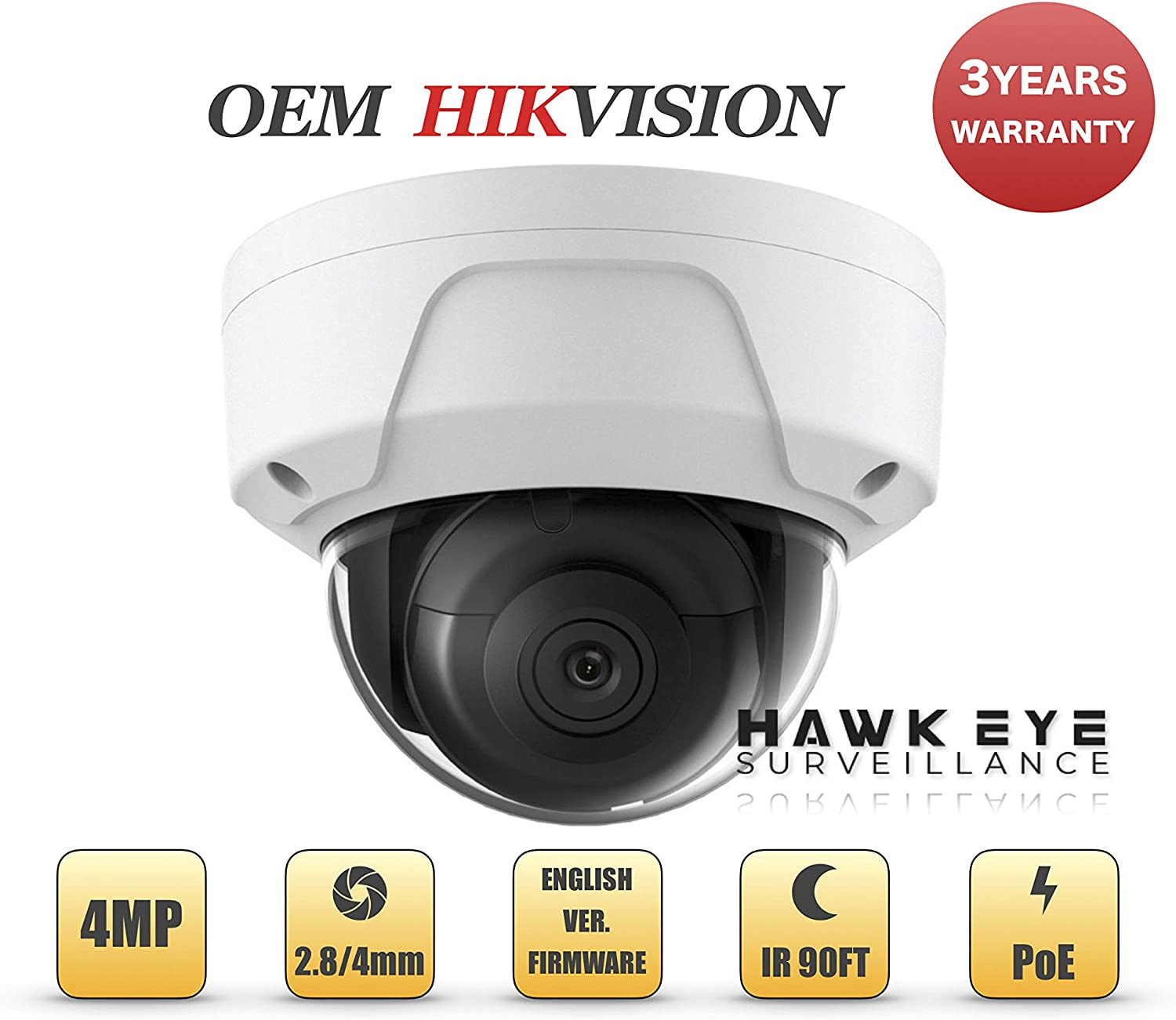 4MP PoE Security IP Camera – Compatible with Hikvision Performance Series DS-2CD2145FWD-I Mini Dome EXIR Night Vision 2.8mm Fixed Lens H.265 3 Year Warranty