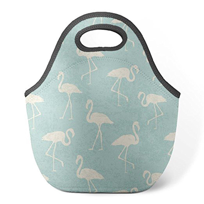 zmvise Teal Watercolor Flamingo pattern las bolsas reutilizables picas–Picnic almuerzo Tote aislados cajas Hombres Mujeres Niños Toddler infirmières bolsa de equipaje BJBAGS0913-55