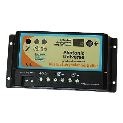 10A doble batería solar controlador de carga/regulador para autocaravanas, caravan, barco o cualquier sistema con dos 12V/24V baterías o pilas bancos