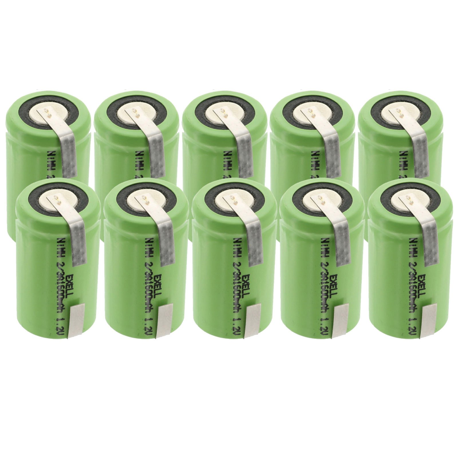 10x Exell 2/3A Size 1.2V 1100mAh NiMH Rechargeable Batteries w/Tabs use with high power static applications (Telecoms UPS and Smart grid) radio controlled devices electric tools electric mopeds by Exell Battery