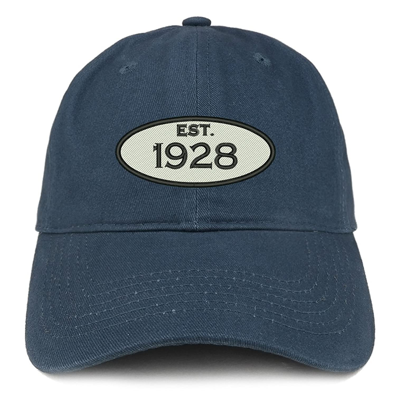 Trendy Apparel Shop Established 1928 Embroidered 90th Birthday Gift Soft Crown Cotton Cap