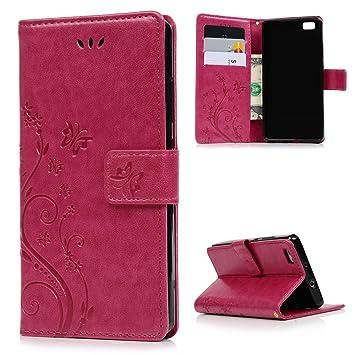 Lanveni® PU Ledertasche Drucken Hüllen für Huawei P8 Lite Flip Cover ...