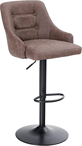 Sophia William Swivel Bar Stool Adjustable Height Counter Bar Chairs Upholstered Mid-Back Water Resistant Retro PU Leather Kitchen Stool